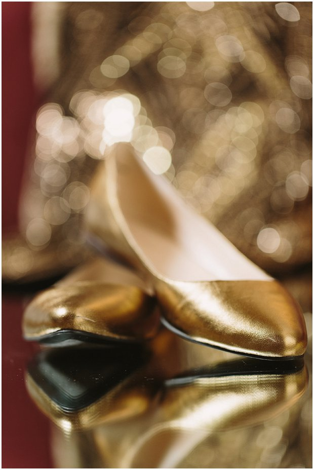 flat gold wedding shoes