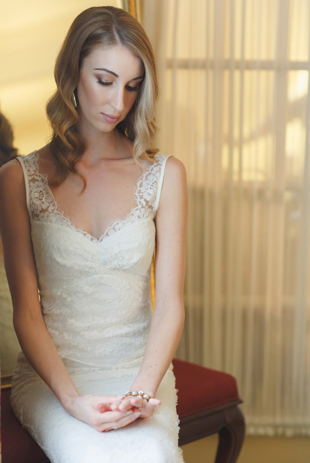 beautiful bride with long finger wave bridal hair