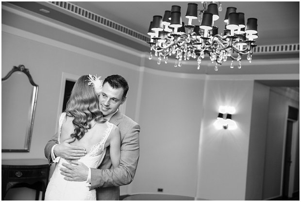 bride and groom first look at art deco wedding