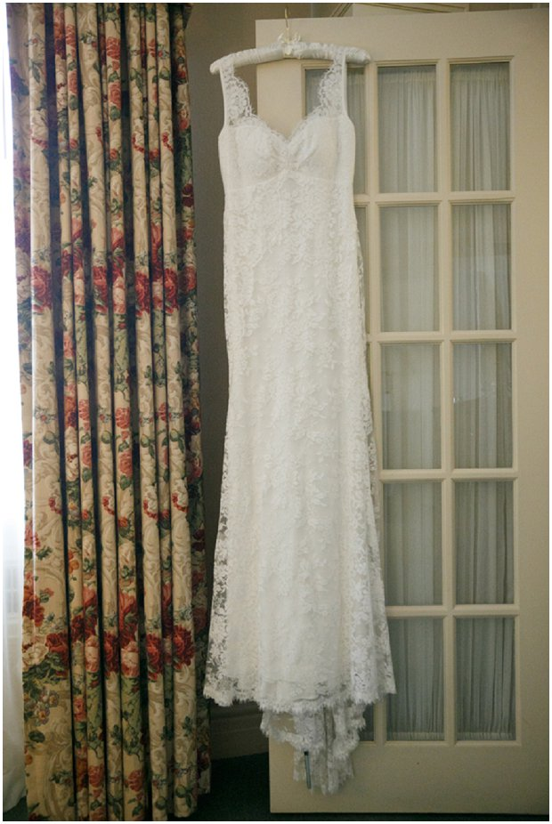 Chantilly lace Nicole Miller wedding dress