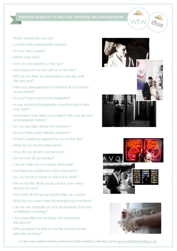 Handy Checklist Of Questions To Ask Your Prospective Wedding Photographer
