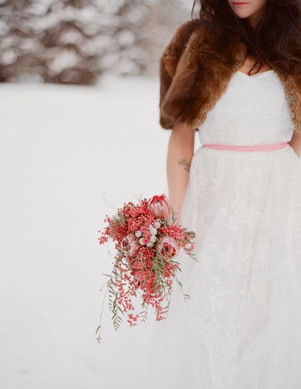 bride in brown faux fur shrug