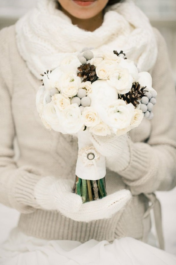 bride in scarf and gloves