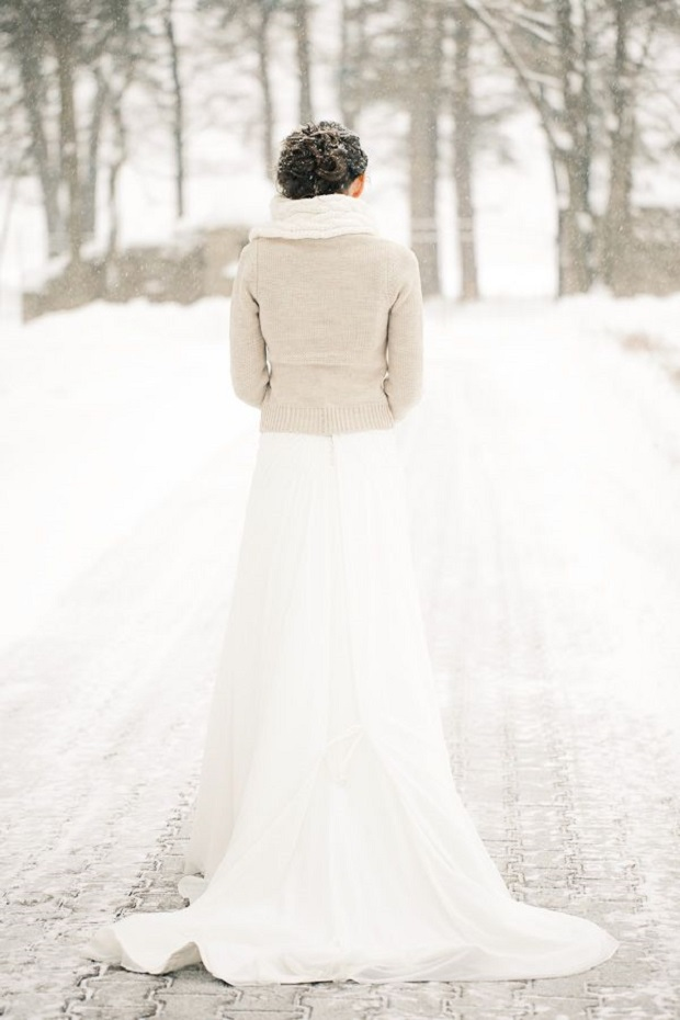 bride in scarf and woolen cardigan