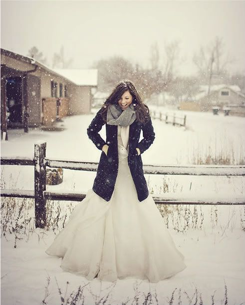 bride in warm winter coat