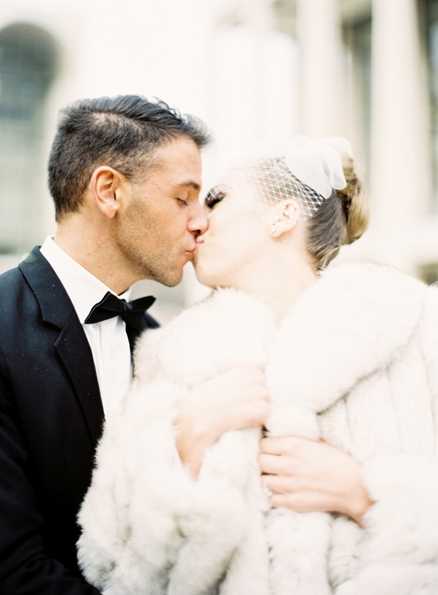 bride in white faux fur