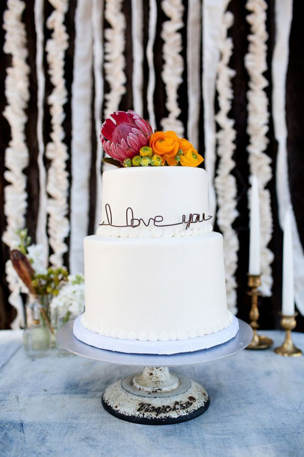 flowers and words cake topper
