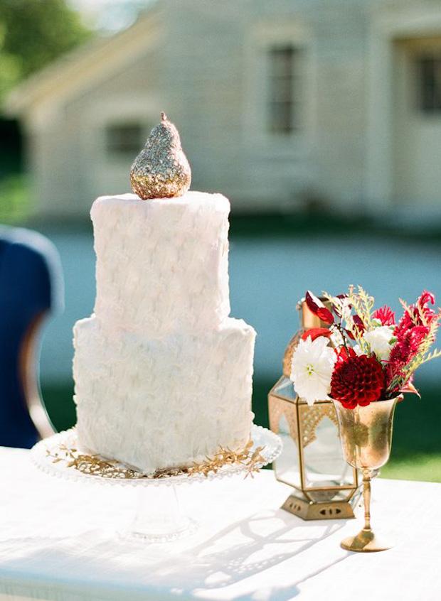 glitter pear cake topper