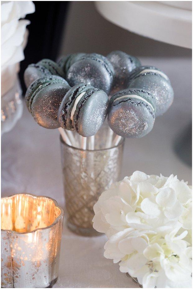 silver macaron pops