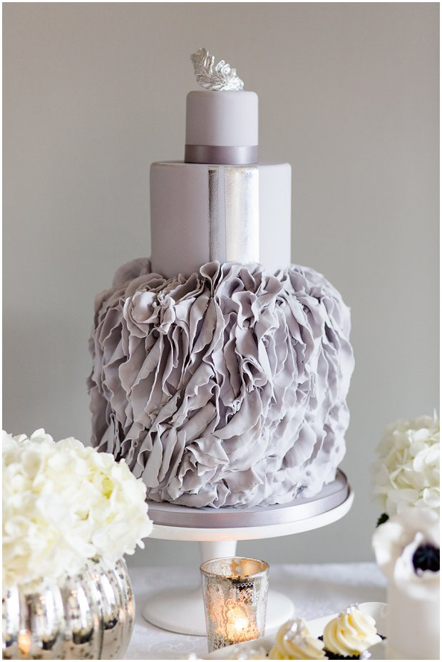 grey ruffled wedding cake