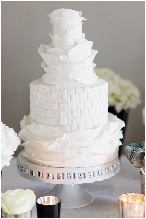Modern textured and ruffled wedding cake