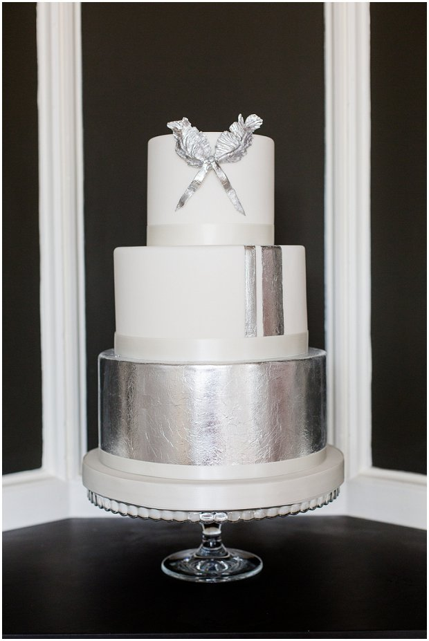 metallic silver wedding cake