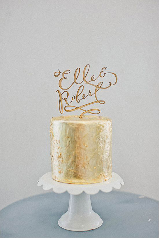 gold worded cake toppers