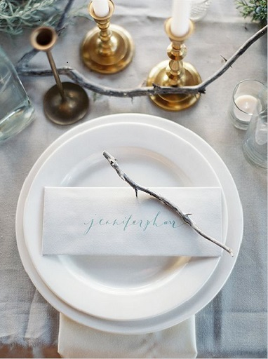 wedding calligraphy place setting