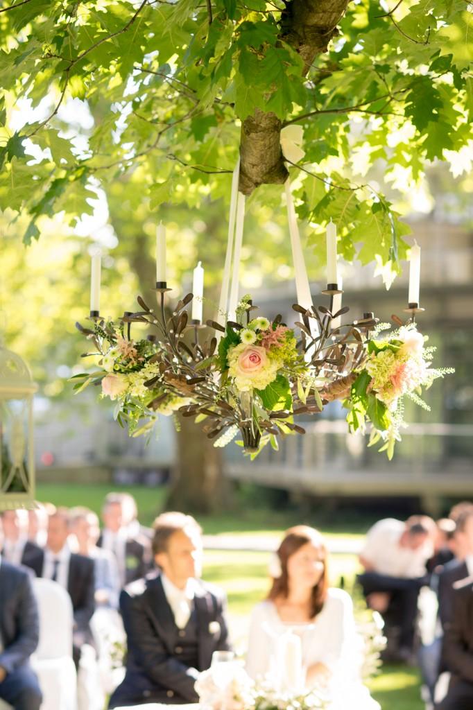 hanging flower candelabra
