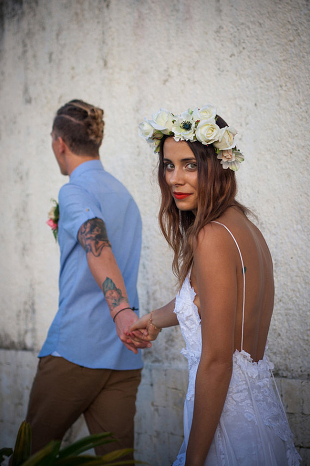 boho beach wedding gown