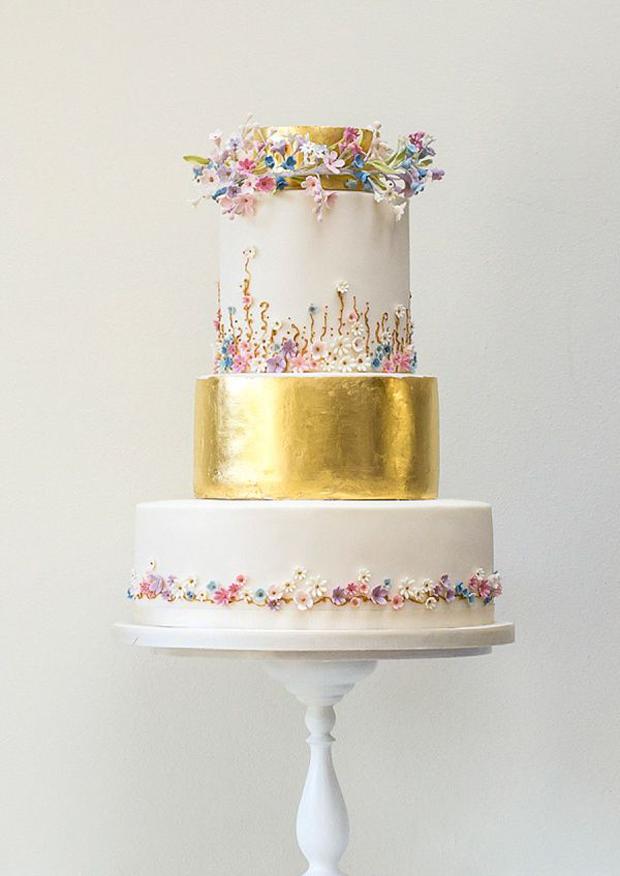 gold leaf floral wedding cake
