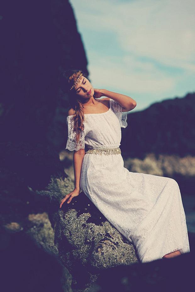 gypsy boho white lace wedding dress