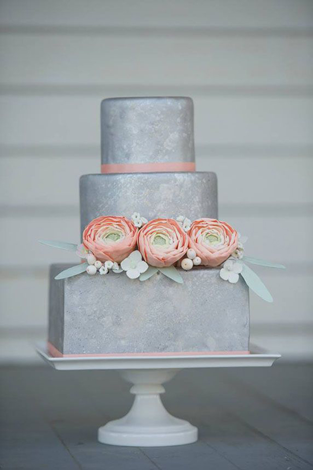 matte silver wedding cake