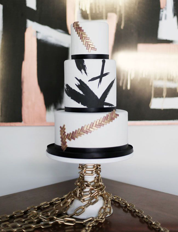 mixed metals, white and black modern wedding cake