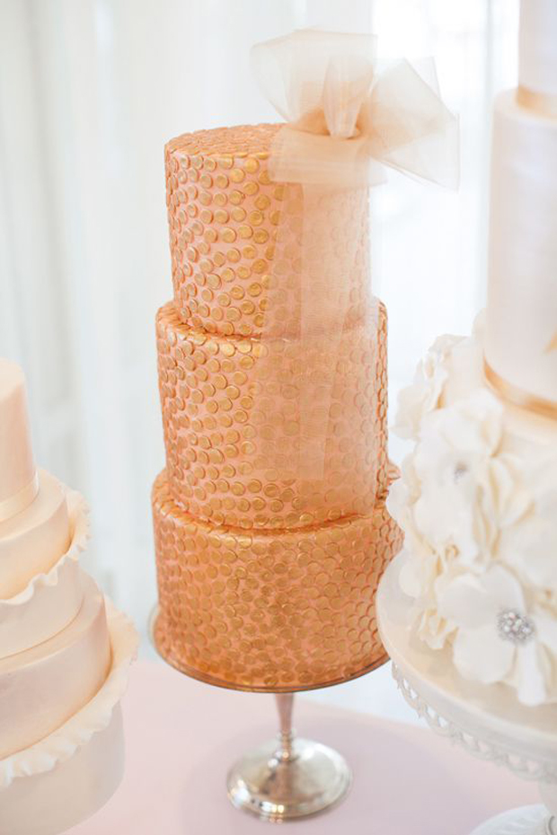 rose gold wedding cake metallic wedding cakes wedding trends 7119