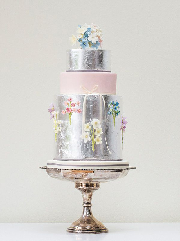 silver leaf floral wedding cake