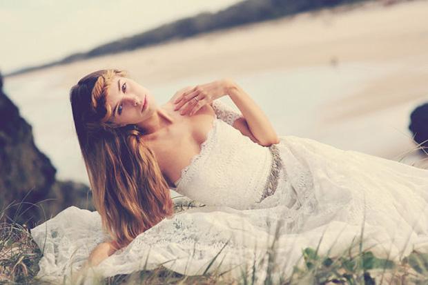 strapless boho bridal gown