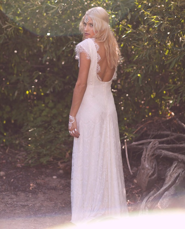 vintage boho lace wedding gown