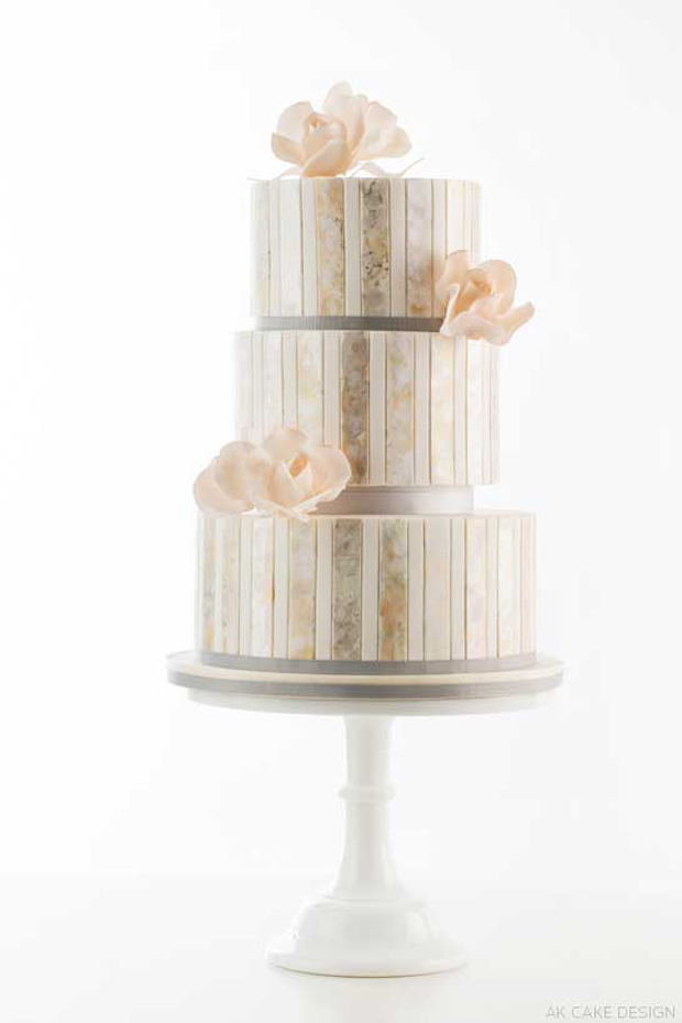 watercolour striped metallic wedding cake