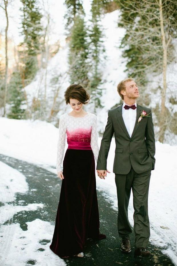 Berry & velvet dip dye wedding dress