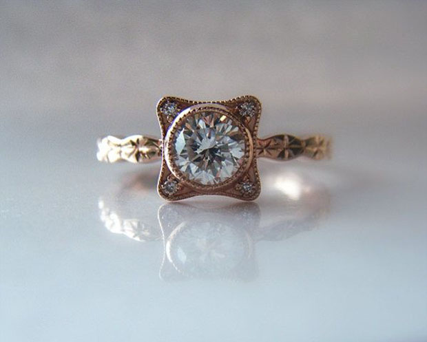 Diamond Engagement Ring Hand Engraved 14K Rose Gold Star Pattern