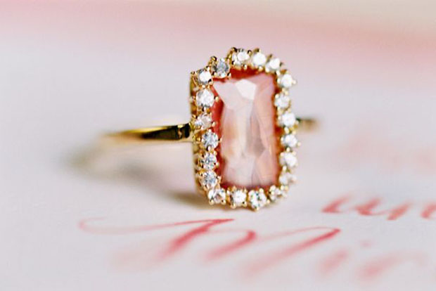Vintage Pink Wedding Ring