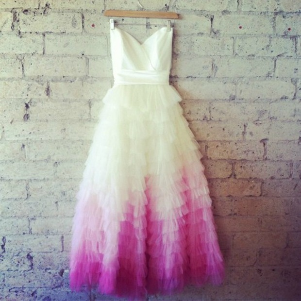 Style crush dip dye wedding dresses diy instructions for Pink ombre wedding dress