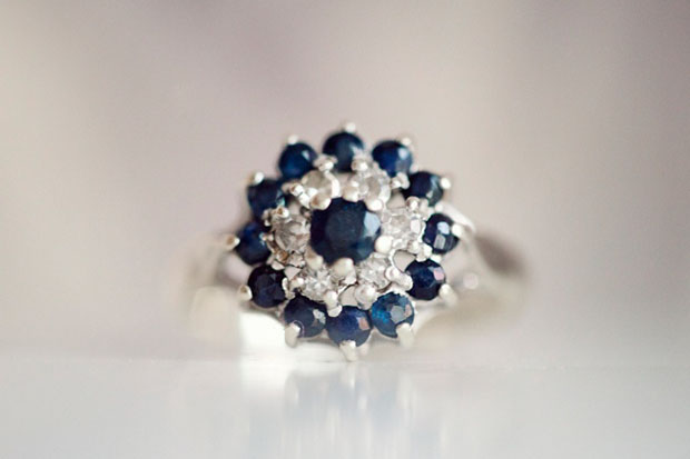 beautiful vintage sapphire and diamond engagement ring photo by STUDIO 1208