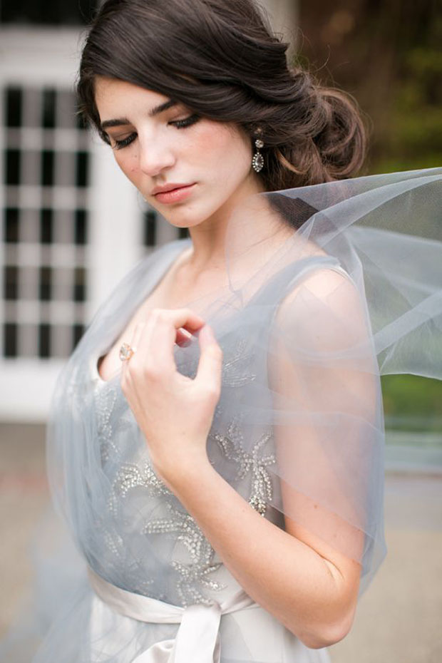 blush & grey wedding dress