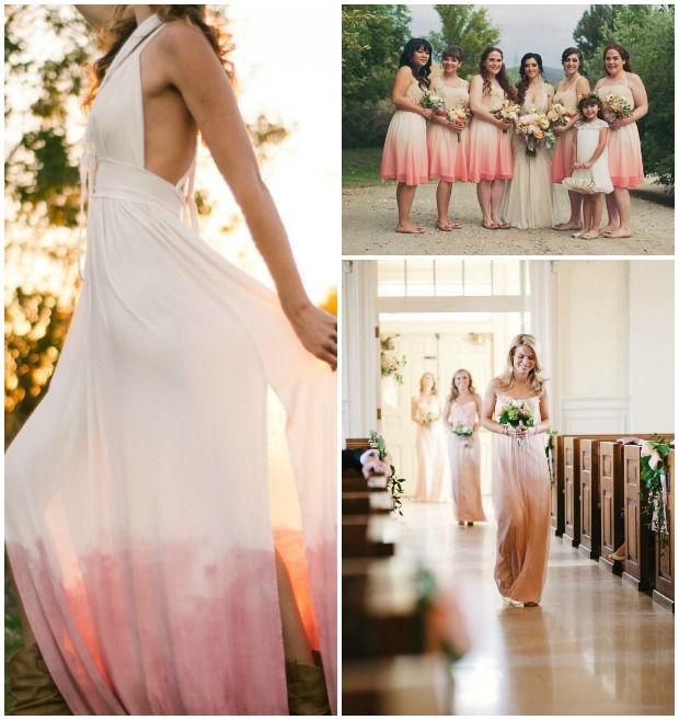 dip dyed bridesmaid dresses