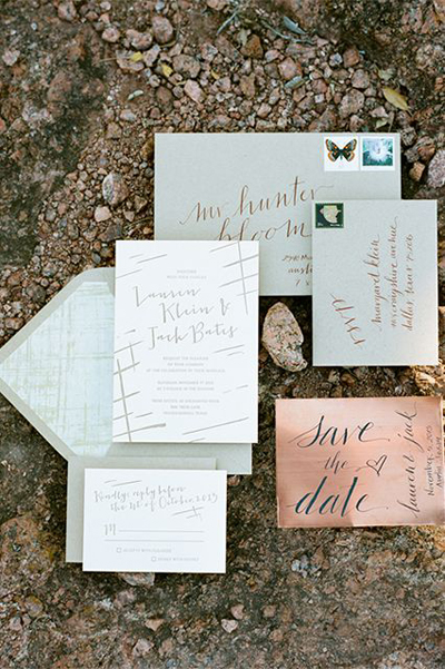 Mint green and copper wedding invites