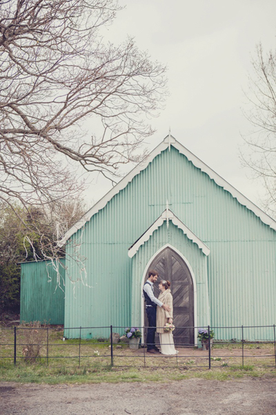 Mint green wedding church