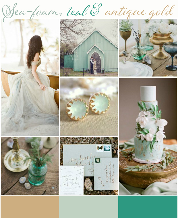 Sea-foam, Teal & Antique Gold: Wedding Inspiration | Colour Ideas