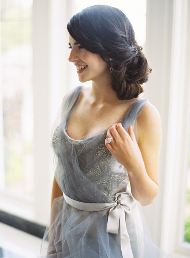 blue-grey wedding dress