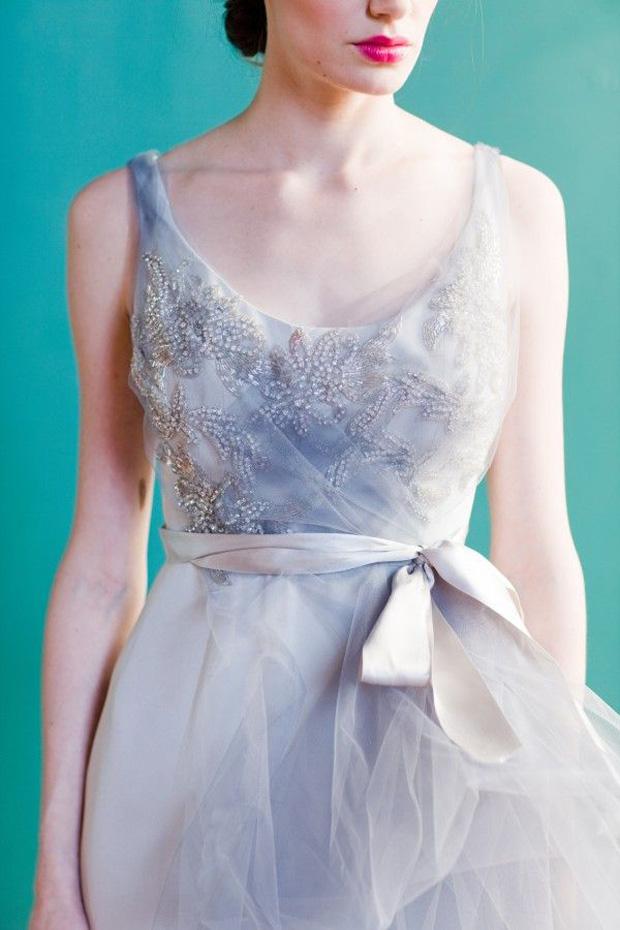 blush and grey wedding dress