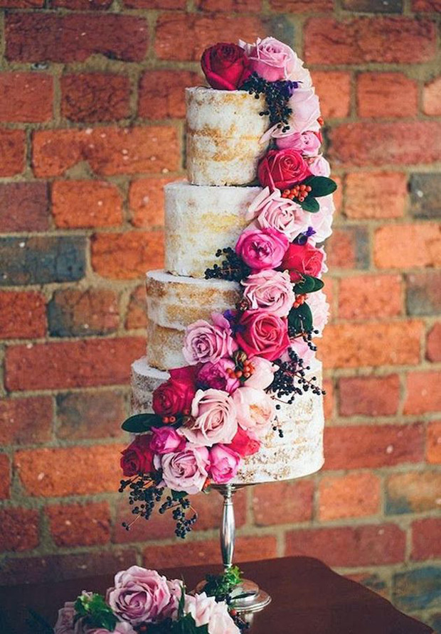 cascading florals naked cake