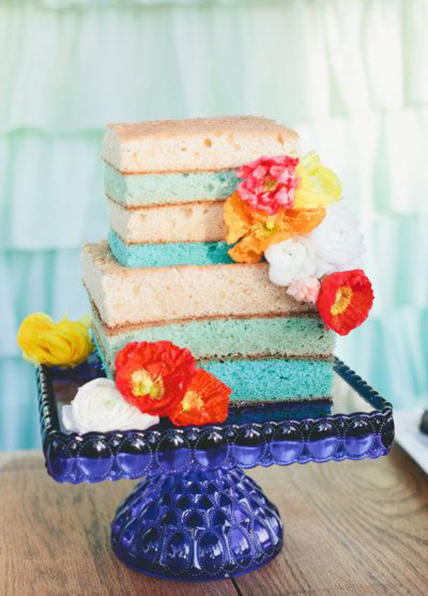 colour block naked cake