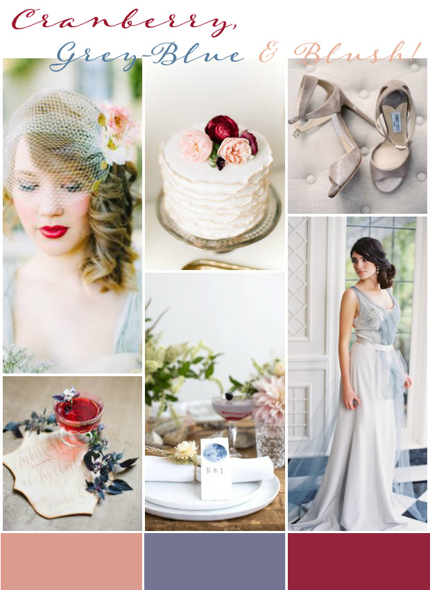 Cranberry, Grey-Blue, Blush | Wedding Inspiration: Wedding Colours