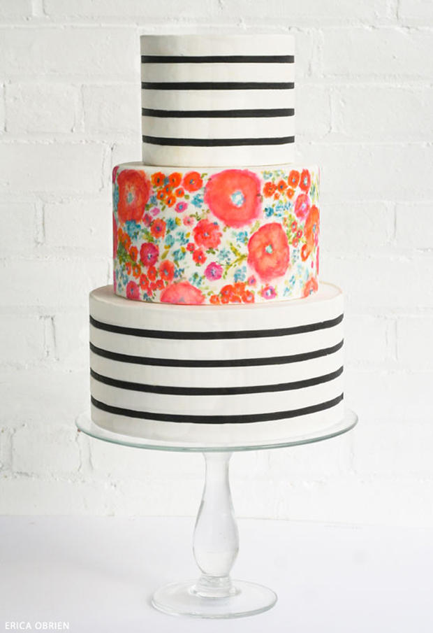 handpainted wedding cake stripes and florals
