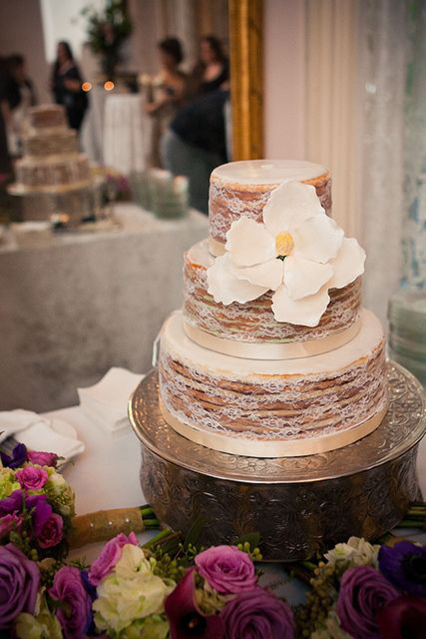 naked lace wedding cake