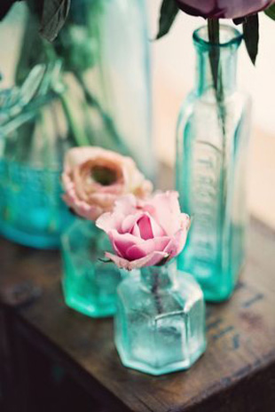 turquoise glass bottles for wedding