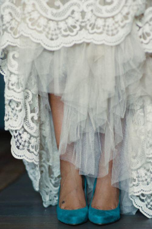 turquoise wedding shoes and lace wedding dress