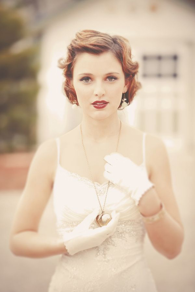 vintage styled short wedding hair