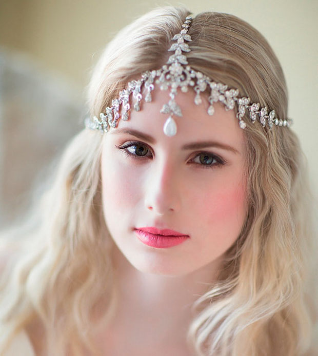 Boho Bridal Headband, , Rhinestone Headband, Wedding Headpiece, Fascinator, Wedding Hair Accessory, Ribbon Bridal Headband